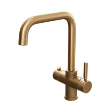 Brushed Gold Contemporary Square Bend Instant Boiling Water Kitchen Tap