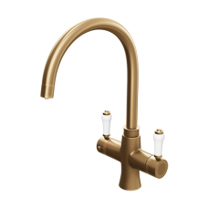 Brushed Gold Traditional  Square Bend Instant Boiling Water Kitchen Tap