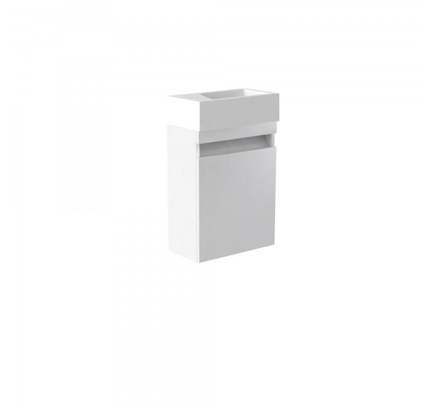 Ikon Wall Mounted Cloakroom Unit & Ceramic Basin- White  - Right Hand