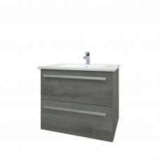 Purity 600mm Wall Mounted 2 Drawer Unit & Basin - Grey Ash