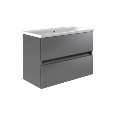 Ikon 800mm Wall Mounted 2 Drawer Unit & Basin - Grey