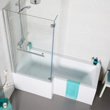 Tetris Square Shaped Shower Bath - 1500 x 850mm - Left Hand