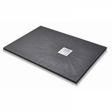Slate Effect Rectangle Shower Tray - Black
