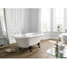 Hebden Bath With Chrome Ball Feet  - White