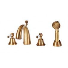 Holborn Gold 4TH  Deck Mounted Bath Shower Mixer